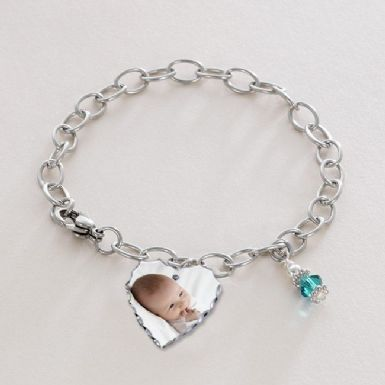 Chain Bracelet with Birthstone and Photo Charm with Engraving. Pet Loss or Sympathy Gift | Someone Remembered